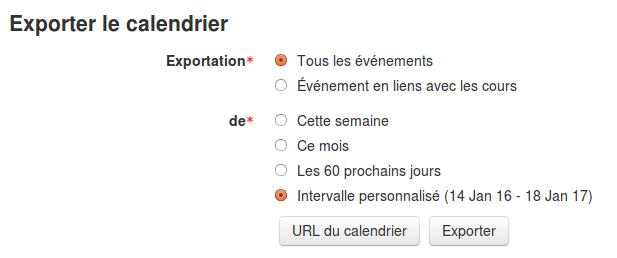 exporter le calendrier Moodle en iCam